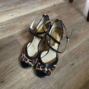 Calf skin Leopard heels